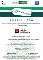 Certificado del Instituto Crea Medioambiente al proyecto Bluefleet