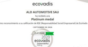 ALD Automotive logra la certificación ECOVADIS PLATINUM por su gestión de la RSC