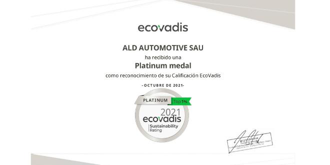 ALD Automotive consigue la certificación ECOVADIS PLATINUM por su compromiso y gestión en RSC